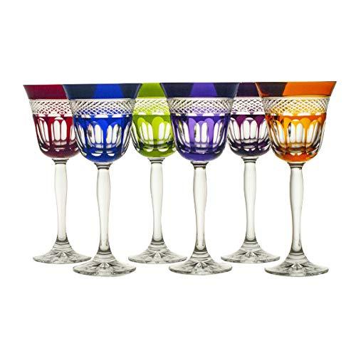 6 X Weinglas Weinkelch Römer Glas Coloradio 220 ml 6 Farbig Handgeschliffen Kristallglas