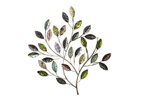 Kobolo Filigrane XXL Wanddekoration Busch aus Metall mit wunderschön verzierten bunten Blättern