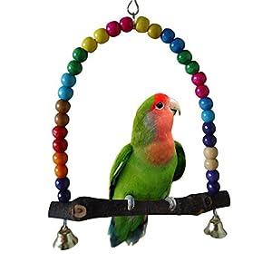 Parrot Balançoire en Bois - BADALINK Swing Coloré à Suspendre pour Cages à Oiseaux Idéal pour les Perruches Cacatoès Inséparables Taille L