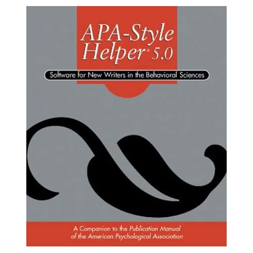 APA style helper 5. : 0 : software for new writers in the behavioral sciences (CD ROM)