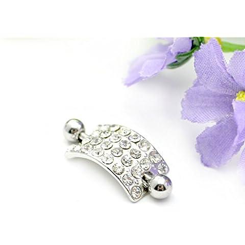 HuntGold 1X Piercing Jewelry Azulejos Shining completa Rhinestone bola anillo de ombligo (Blanco)