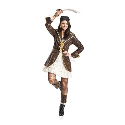 tin Kostüm Damen Piraten-kostüm Piratin Kostüm Erwachsene Größe 48/50 ()