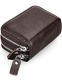 DcSpring RFID Cartera Tarjeteros Piel Genuino Monedero Pequeñas Portatarjetas Mini Cremallera para Mujer Hombre