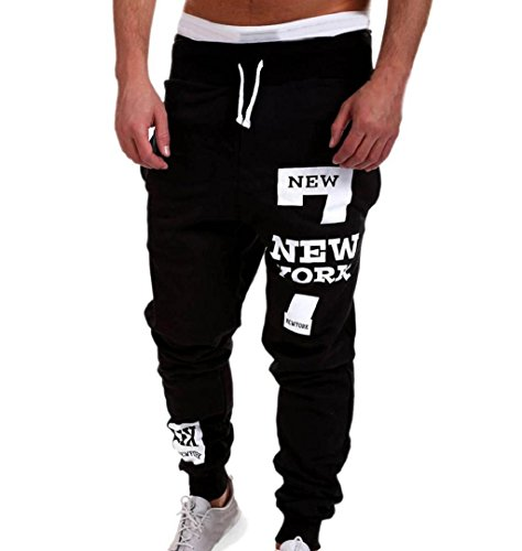 ZEZKT-Herren Casual Hose Lang Frühling Fitness Loose Crotch Hose Hiphop Dance Jogger Sweatpants Baggy Designer Chino Stoff Hose Regular Fit Outdoorhose Freizeithose Stretch Basic (L, Schwarz)