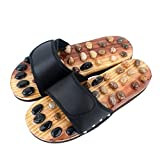AMAZING MALL (LABEL) Women's Black Nature Stone Fitness Acupuncture Reflex Points Foot Massager Healthy Slipper Shoes