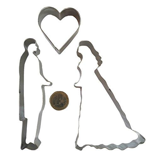 Amore matrimonio Set acciaio inox TAGLIAPASTA BISCOTTI cuore Principe Principessa favola coppia di sposi cuore Natale Amore Forma Biscotto stampini per biscotti biscotti cuocere timbro di Royal