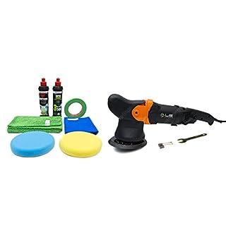 APS - Autopflege-Shop.de Liquid Elements T3000 V2 Exzenter Poliermaschine 10mm Hub - StarterSet mit Menzerna Polituren, Polierpads, Abklebeband und Microfasertüchern