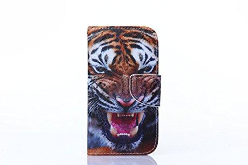 Apple iPhone 44S Custodia, con protezione schermo,], nanxi Colorful Nizza Pattern PU portafoglio in pelle con porta carte di credito slot Smart Standing stile ultra sottile custodia protettiva cover Tiger