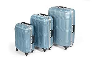 MasterGear Hartschalen Koffer 3er Set mit 4 Rollen, Trolley, Reisekoffer, ABS, TSA, eisblau