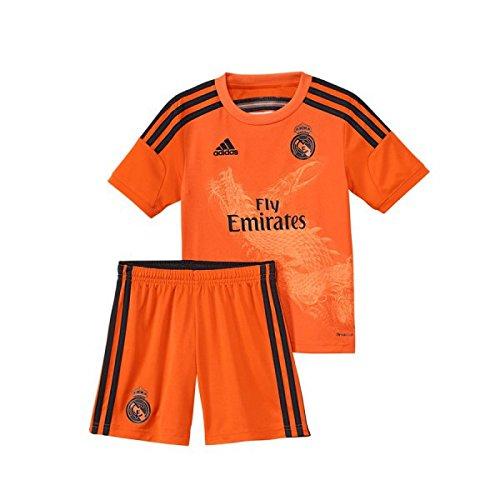 adidas Performance REAL MADRID 3 GOAL KEEPER MINIKIT Maglia da Calcio Portiere Jersey Arancione per Bambini Climacool