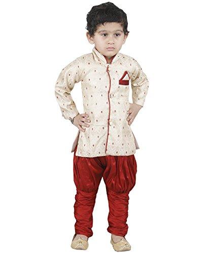 JBN Creation Kids Banarasi Brocade Indowester Sherwani Suit Dress with Jodhpuri Breeches...