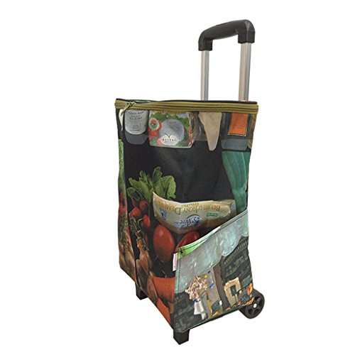 Leichte Aluminiumlegierung Faltbarer Einkaufslaufkorb-Lebensmittelgeschäft-Wagen 2, der leises Rad-zusammenlegbares Zug-Karren trägt Oxford-Tuch-Einkaufstasche-Wagen Große Kapazität 38L Höhe: 48~93cm