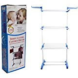 Icome 3Tier Stainless Laundry Organizer Folding Drying Rack Clothes Dryer Hanger Stand