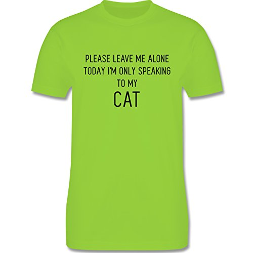 Statement Shirts - Please leave me alone, today I'm only speaking to my cat - Herren Premium T-Shirt Hellgrün