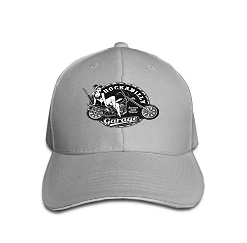 Xunulyn Unisex Women Cotton Adjustable Baseball Caps Low Profile Washed Dad Hats pin up Girl Motorcycle Monochrome Version Vintage White Background All EL