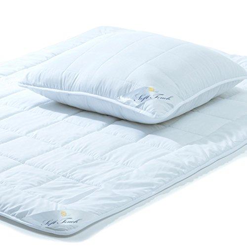 aqua-textil Soft Touch, Bettdecken Set 135 x 200 cm, Kopfkissen 80 x 80 cm, für Winter und Sommer Kochfest, 2000017
