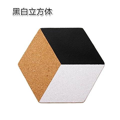 Home und verschiedene geometrische verdickte Cork Topf einfache Tabelle - heiße Heizmatten coaster Mat rutschfeste Schüssel Schüssel matten Black und White Cube