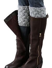 Gillbro corta de las mujeres de ganchillo arranque Puños de invierno tejido en cable calentadores de la pierna
