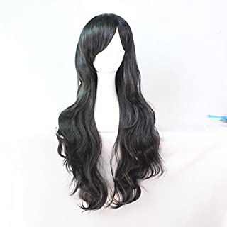 Womens Ladies Girls 70cm Black Color Long Curly Wigs High Quality Hair Carve Cosplay Costume Anime Party Bangs Full Sexy Wigs