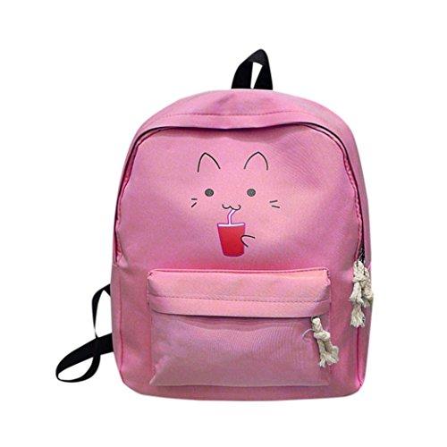 Mädchen Leinwand Rucksack,Hansee Fashion Cartoon Drucken Schule Taschen Campus Canvas Student Rucksack (rosa) -