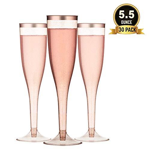 TOROTON 30 Einweg Plastik Sektgläser, 160ml Wiederverwendbar & Recyclebar Champagnergläser für Cocktail, Wein - Rose Gold
