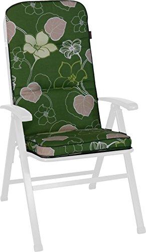Angerer Stuhlauflage, Exklusiv Sesselpolster hoch Design Meran, grün, 120x50x7 cm, 1024/094