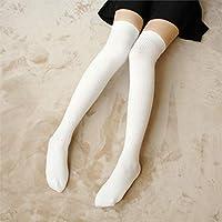YUCH Medias Cálidas De Estudiante para Mujer Sobre La Rodilla Calcetín Alto,Blancas,Talla Única