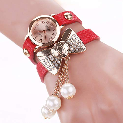 LLCOFFGA Damen Armbanduhr Damen Quarzuhren Armbanduhr Weiblichen Bogen Perle Mode Armbanduhr, Geschenke Zum Geburtstag Valentinstag Muttertag,Red