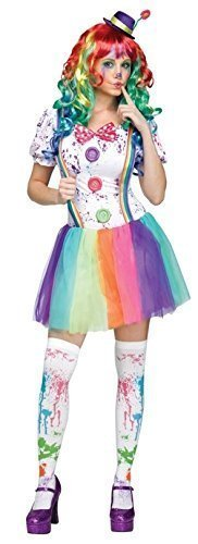 ride Clown + Strümpfe Halloween Kostüm Kleid Outfit - Multi, 14-16 (Halloween Clown Outfits)