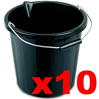 10 x Black Builders Bucket Plastic 3 Gallon 14 Litre 14L Strong Water Mixing Storage