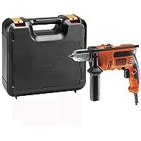 Black+Decker KR714CRESK - Taladro percutor con cable 710 W, portabrocas 13 mm, incluye maletín, color negro y naranja