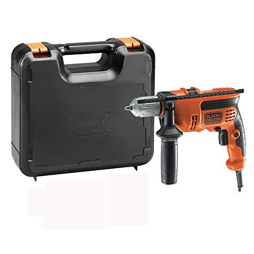 Black+Decker KR714CRESK  Taladro percutor con Cable, portabrocas 13 mm, Incluye maletín, 710 W, Naranja y Negro