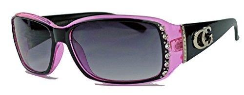 amashades Vintage Classics Schmale Damen Sonnenbrille Strass Glitzersteine Designer Look GC88 (Pink)