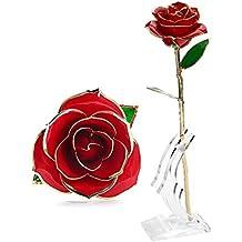 Rosa Regalo Fiore, U-KISS oro 24k Rosa in confezione regalo con Clear Display Stand per amante Madre Girlfrien, miglior regalo per San Valentino, la festa della mamma, anniversario, regalo di compleanno (Rosso)
