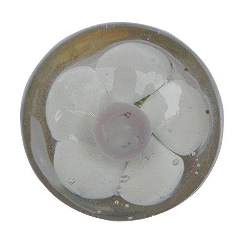 IndianShelf handgefertigt Set of 2 Glas weiß with Pink Blume Tür Griffe Anrichte Knöpfe Schublade zieht