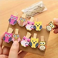 SLB Works Brand New 10x Cute Owl Postcard Clothes Photo Paper Peg Pin Wooden Clips Crafts New Kit