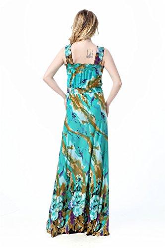 JOTHIN 2017 Printemps et en été Nouvelle Femmes Robe V-Cou Taille Haute Sans Manches Dos-nu Imprimé Taille Grands Mince des Robe de Longue Section Plage Robe Vert