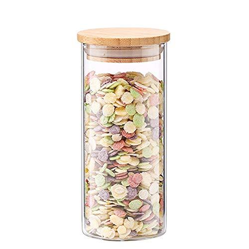 WANGLX ST Holzdeckel Vorratsbehälter Für Lebensmittel Trockenfrüchte-Flasche Gute Versiegelung Hitzebeständiges Borosilikatglas Versiegelte Dosen Versiegelte Flasche Vorratsglas, C