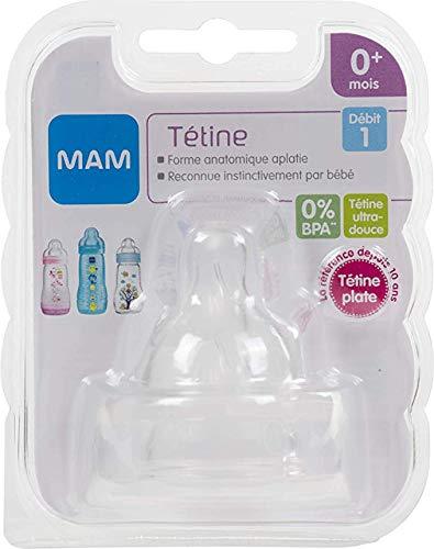 MAM silicone, tettarelle a flusso lento 2in una confezione Age 0m + BPA free (Slow Flow)