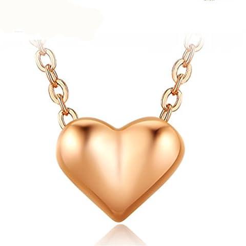 fjyouria Damen-Charm 18ct Rose Vergoldet Einfacher Kleiner Herz Form Anhänger Halsketten