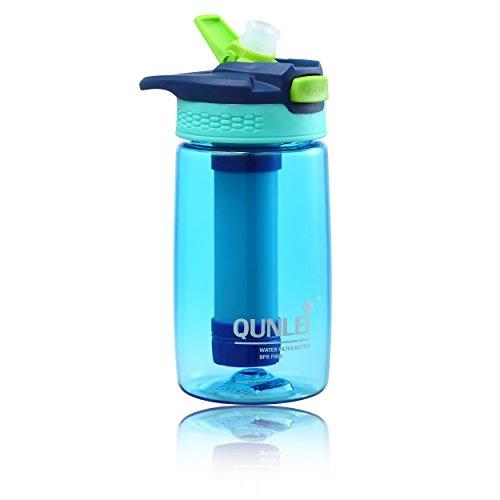 Qunlei Play Kinder Wasserflasche mit Filter. Flasche mit 2-stufiger Filtration