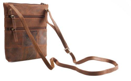 Visconti Petit sac à bandoulière en cuir véritable # 18606 Mud
