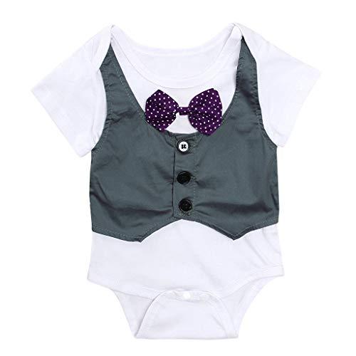 orenes Overall Gentleman Fliege Overall Sommer Kinder Kurzarm Weste Overall Baby Boy Kid Strampler Outfits Kleidung(Weiß,6-12 Mona) ()