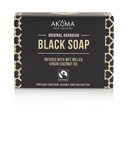 AKOMA Raw Organic African Black Soap with Shea Butter and Coconut Oil -145g