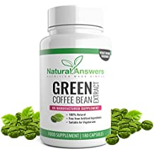 Green Coffee Bean Extract 800mg - 3 Month Supply - 180 Vegetarian Capsules - 100% Suitable for Vegetarians - Green Coffee Beans for Men and Women - UK Manufactured - by Natural Answers