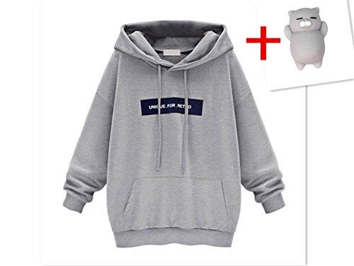 Gap Hoodie (Moonuy Damen Hoodies, Frauen Herbst/Winter Neue Stil Langarm Hoodie Sweatshirt Jumper mit Kapuze Pullover Stilvolle Kleidung Elegante Bluse S~6XL (L, Grau))