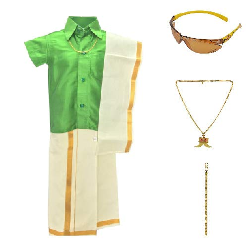 Amirtha Fashion Boy's Art Silk Traditional Dhoti and Shirt Set (Green, 5-6 Years)