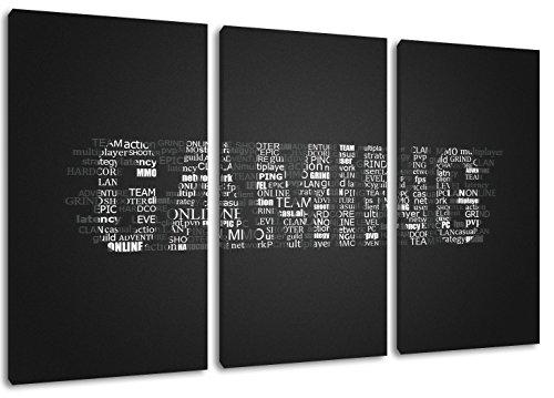 Schrift-bilder (Gaming Schriftzug Format: Dreiteiler Gesamt 120x80, Bild auf Leinwand bespannt, riesige XXL Bilder komplett und fertig gerahmt mit Keilrahmen, Kunstdruck auf Wand Bild mit Rahmen, günstiger als Gemälde oder Bild, kein Poster oder Plakat)