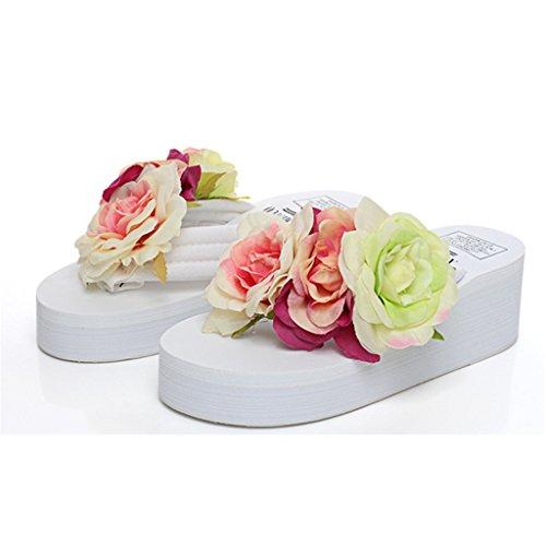 Eagsouni® Femmes Plateforme Flip Flop Talon Compensé Tongs Sandales Eté Plage Mules et sabots Fille Chaussures Blanc
