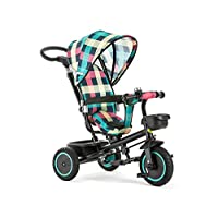 All Road 4 in1 Trike in Coloured PLAID Convert Push Handle Pedal Kids Tricycle CE **Plaid (Multicoloured)**